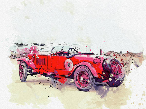 Painting - 1928 Alfa Romeo 6c 1500 Zagato Tre Posti 3 Watercolor By Ahmet Asar by Ahmet Asar