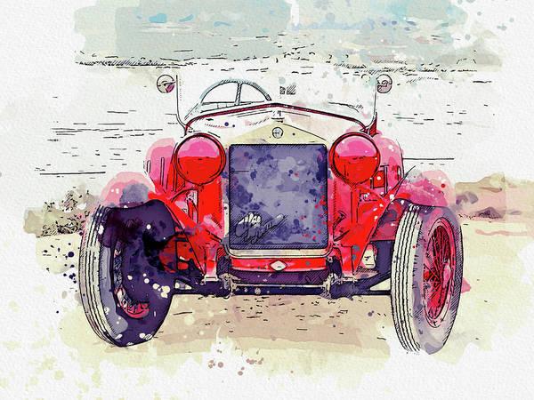 Painting - 1928 Alfa Romeo 6c 1500 Zagato Tre Posti 4 Watercolor By Ahmet Asar by Ahmet Asar
