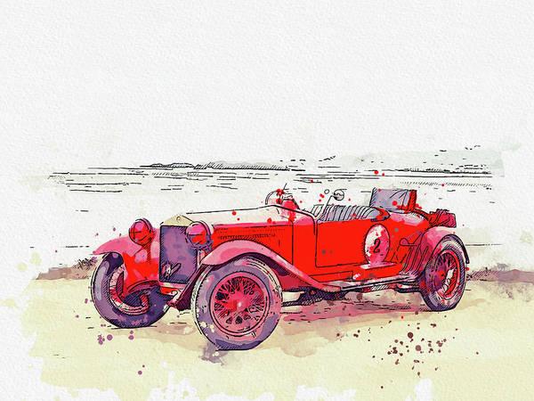 Painting - 1928 Alfa Romeo 6c 1500 Zagato Tre Posti 5 Watercolor By Ahmet Asar by Ahmet Asar