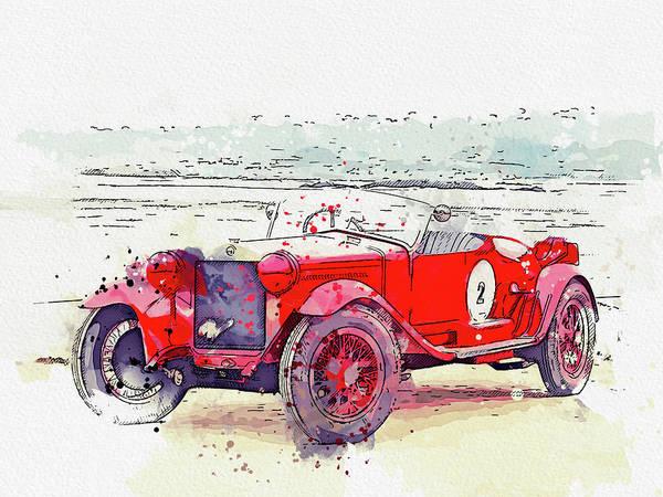 Painting - 1928 Alfa Romeo 6c 1500 Zagato Tre Posti 6 Watercolor By Ahmet Asar by Ahmet Asar