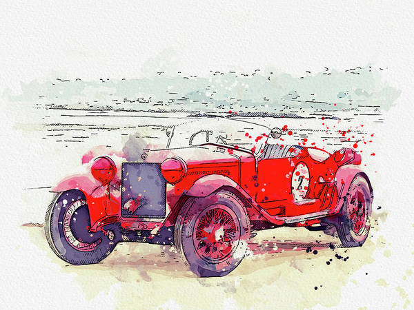 Painting - 1928 Alfa Romeo 6c 1500 Zagato Tre Posti Watercolor By Ahmet Asar by Ahmet Asar