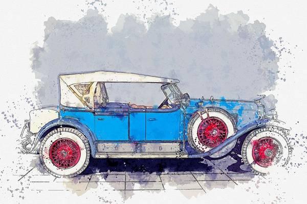 Painting - 1928 Cadillac Dual Cowl 341 A Dual Cowl Sport Phaeton 2 Watercolor By Ahmet Asar by Ahmet Asar