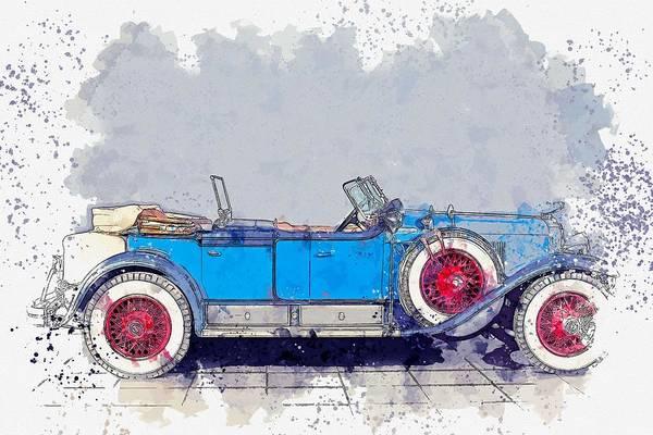 Painting - 1928 Cadillac Dual Cowl 341 A Dual Cowl Sport Phaeton 3 Watercolor By Ahmet Asar by Ahmet Asar