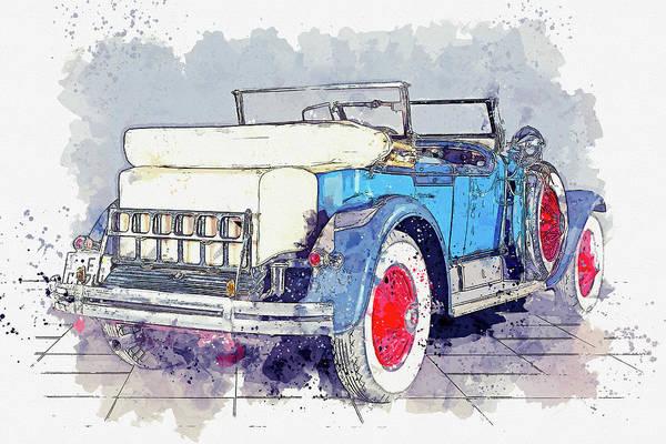 Painting - 1928 Cadillac Dual Cowl 341 A Dual Cowl Sport Phaeton 4 Watercolor By Ahmet Asar by Ahmet Asar