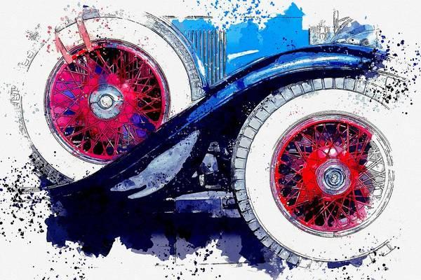 Painting - 1928 Cadillac Dual Cowl 341 A Dual Cowl Sport Phaeton 5 Watercolor By Ahmet Asar by Ahmet Asar