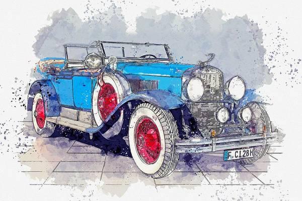 Wall Art - Painting - 1928 Cadillac Dual Cowl 341 A Dual Cowl Sport Phaeton Watercolor By Ahmet Asar by Ahmet Asar