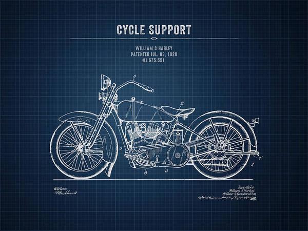 Wall Art - Digital Art - 1928 Harley Davidson Cycle Support - Dark Blueprint by Aged Pixel