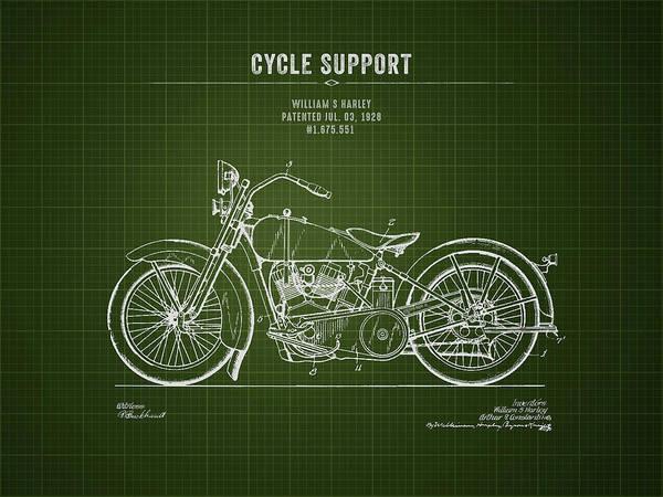 Wall Art - Digital Art - 1928 Harley Davidson Cycle Support - Dark Green Blueprint by Aged Pixel