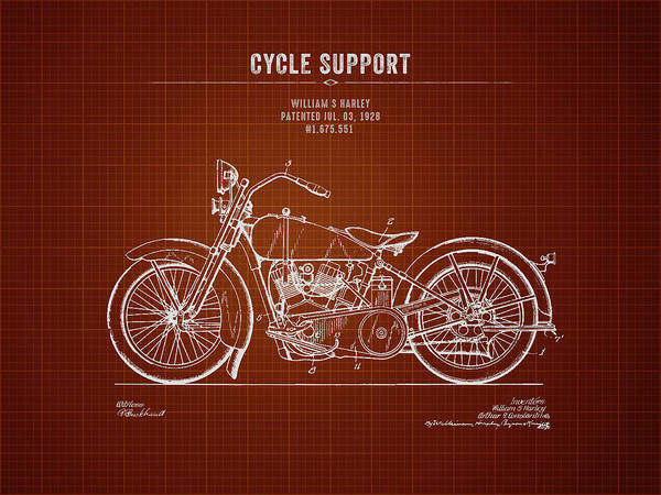 Wall Art - Digital Art - 1928 Harley Davidson Cycle Support - Dark Red Blueprint by Aged Pixel