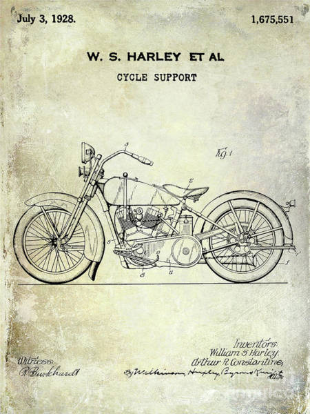 Knucklehead Wall Art - Photograph - 1928 Harley Davidson Motorcycle Patent by Jon Neidert