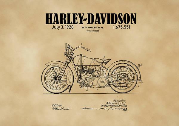 Drawing - 1928 Harley Davidson Motorcyle Patent Illustration Art Print by David Millenheft