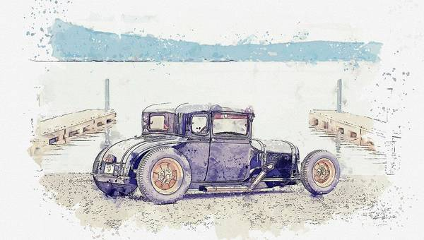 Painting - 1929 Ford Model A Coupe, Hot Rod Watercolor By Ahmet Asar by Ahmet Asar