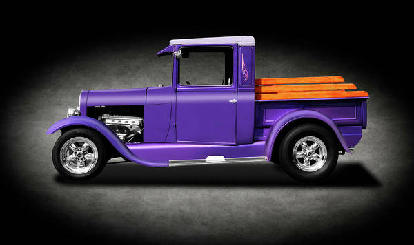 Mag Wheels Wall Art - Photograph - 1929 Ford Model A Pickup Truck  -  29fordmodelatrucktexture196518 by Frank J Benz