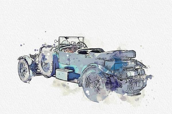Painting - 1930 Bentley 4 .5 Litre 2 Watercolor By Ahmet Asar by Ahmet Asar