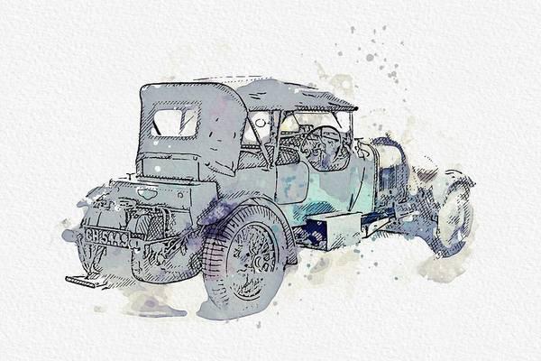 Painting - 1930 Bentley 4 .5 Litre 3 Watercolor By Ahmet Asar by Ahmet Asar