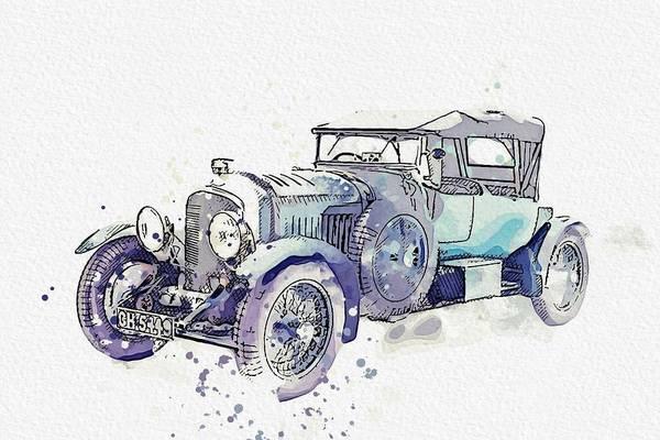 Painting - 1930 Bentley 4 .5 Litre 4 Watercolor By Ahmet Asar by Ahmet Asar