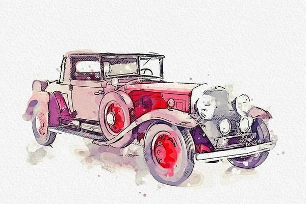 Painting - 1930 Cadillac Series 452 V-16 2 Watercolor By Ahmet Asar by Ahmet Asar