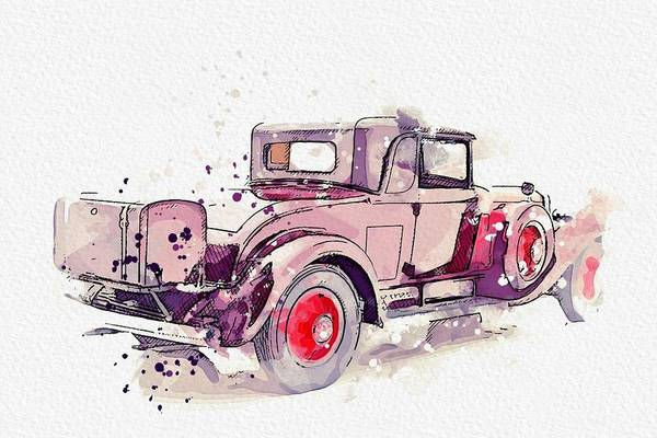 Painting - 1930 Cadillac Series 452 V-16 3 Watercolor By Ahmet Asar by Ahmet Asar