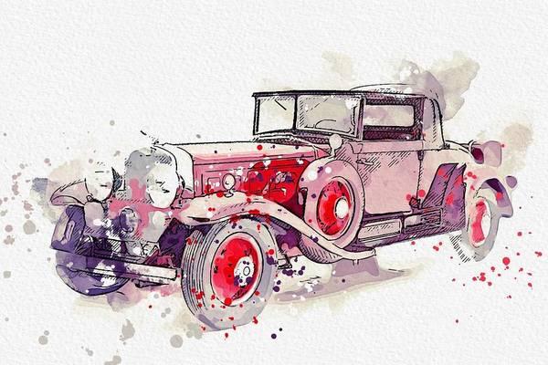 Painting - 1930 Cadillac Series 452 V-16 Watercolor By Ahmet Asar by Ahmet Asar