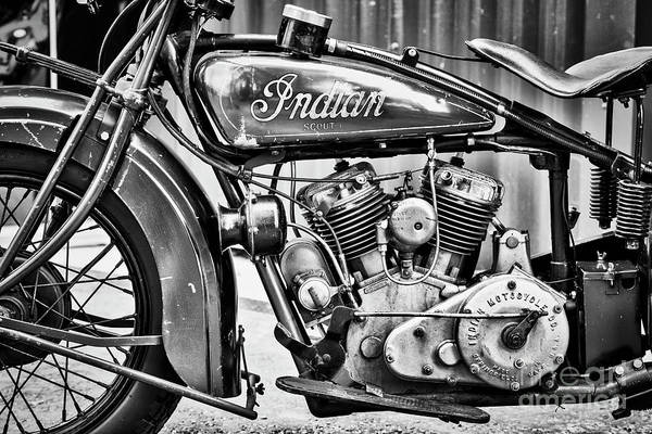 Photograph - 1930 Indian 101 Scout Motorcycle Monochrome by Tim Gainey