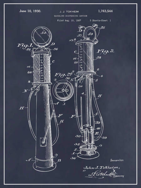 Pump Drawing - 1930 J J Tokheim Gasoline Pump Blackboard Patent Print by Greg Edwards