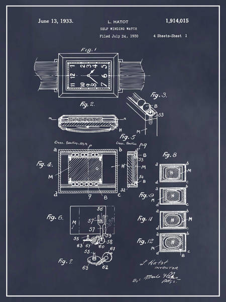 Swiss Watch Drawing - 1930 Leon Hatot Self Winding Watch Patent Print Blackboard by Greg Edwards
