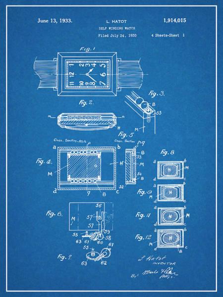 Swiss Watch Drawing - 1930 Leon Hatot Self Winding Watch Patent Print Bluebrint by Greg Edwards