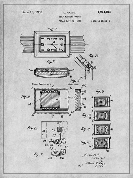 Swiss Watch Drawing - 1930 Leon Hatot Self Winding Watch Patent Print Gray by Greg Edwards