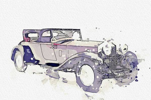 Painting - 1930 Rolls-royce Phantom II 4 Watercolor By Ahmet Asar by Ahmet Asar