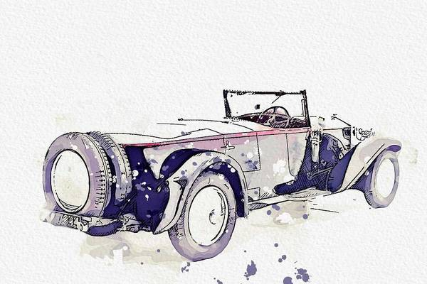 Painting - 1930 Rolls-royce Phantom II 5 Watercolor By Ahmet Asar by Ahmet Asar