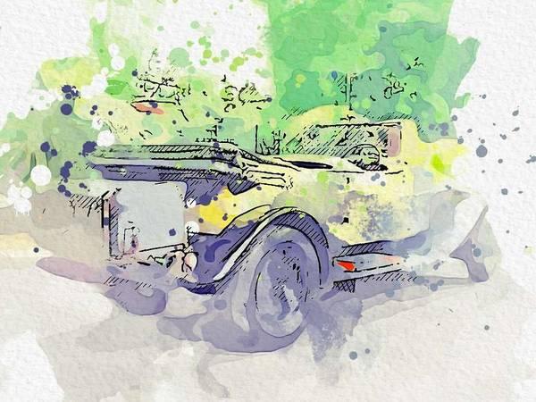Painting - 1930 Rolls-royce Phantom II Classic Phantom II Tourer 3 Watercolor By Ahmet Asar by Ahmet Asar