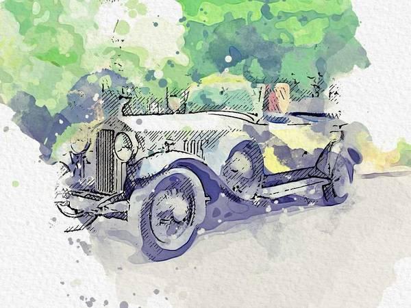 Painting - 1930 Rolls-royce Phantom II Classic Phantom II Tourer Watercolor By Ahmet Asar by Ahmet Asar
