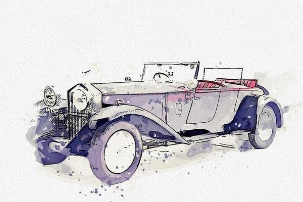 Painting - 1930 Rolls-royce Phantom II Watercolor By Ahmet Asar by Ahmet Asar