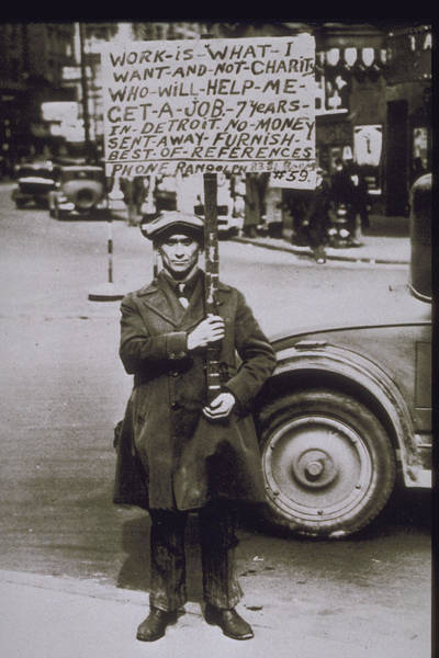Sign Photograph - 1930, Scene Of The Depression In Detroit by Archive Holdings Inc.