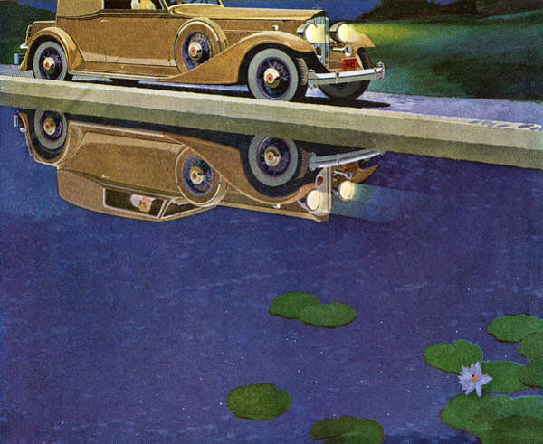 Road Digital Art - 1930s Roadster Night Driving by Graphicaartis