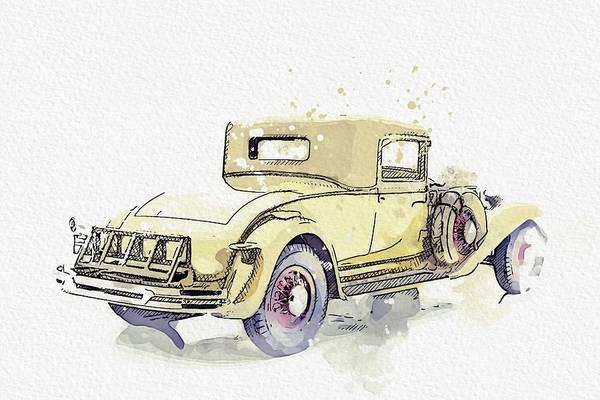Painting - 1931 Chrysler   Cg Imperial  3 Watercolor By Ahmet Asar by Ahmet Asar