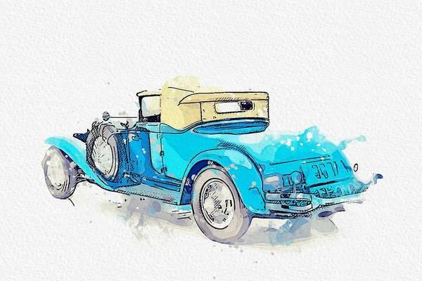 Painting - 1931 Cord L-29 4 Watercolor By Ahmet Asar by Ahmet Asar