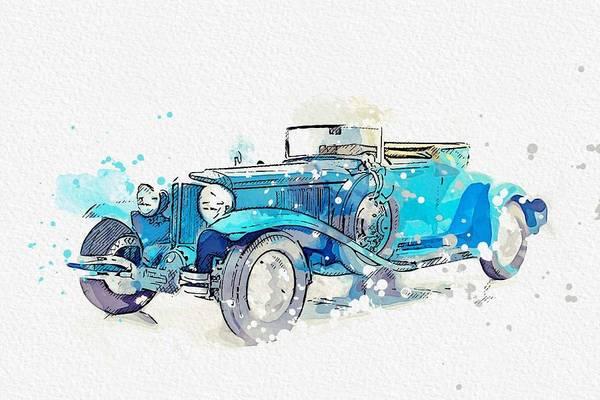 Painting - 1931 Cord L-29 Watercolor By Ahmet Asar by Ahmet Asar