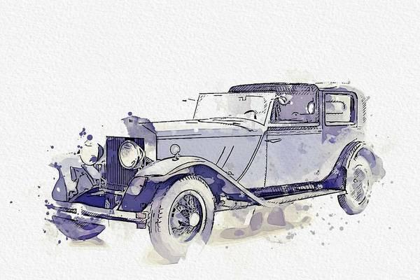 Painting - 1931 Rolls-royce Phantom I Newport Watercolor By Ahmet Asar by Ahmet Asar