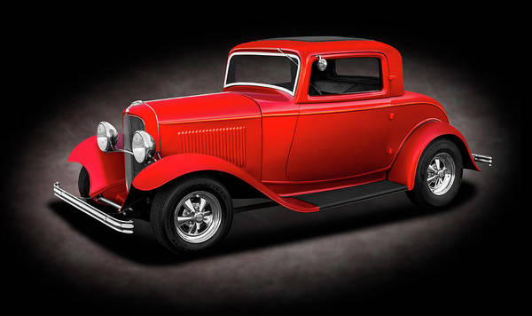 Wall Art - Photograph - 1932 Ford 3 Window Coupe  - 1932fordthreewindowcpespttext186144 by Frank J Benz