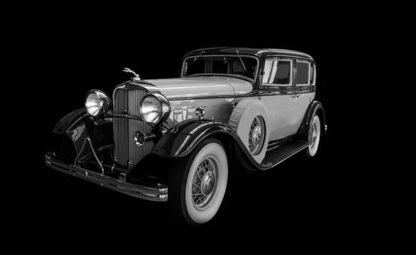 Photograph - 1932 Lincoln Sedan Black And White by TL Mair