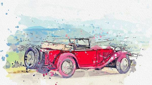 Painting - 1932 Mercedes-benz Typ Mannheim 370 370 S Mannheim Sport Cabriolet 2 Watercolor By Ahmet Asar by Ahmet Asar