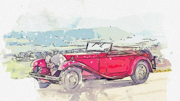 Painting - 1932 Mercedes-benz Typ Mannheim 370 370 S Mannheim Sport Cabriolet Watercolor By Ahmet Asar by Ahmet Asar