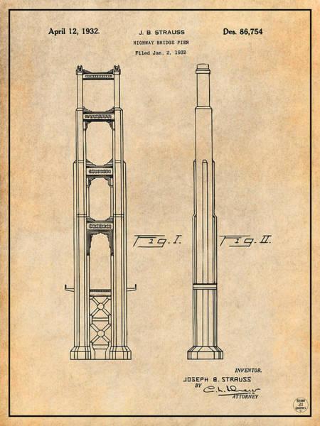 Wall Art - Drawing - 1932 San Francisco Golden Gate Bridge Antique Paper Patent Print by Greg Edwards