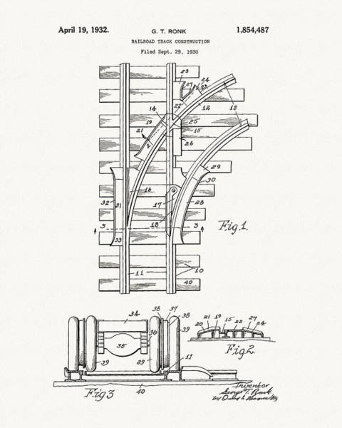 Drawing - 1932 Train Tracks Patent Drawing by Dan Sproul