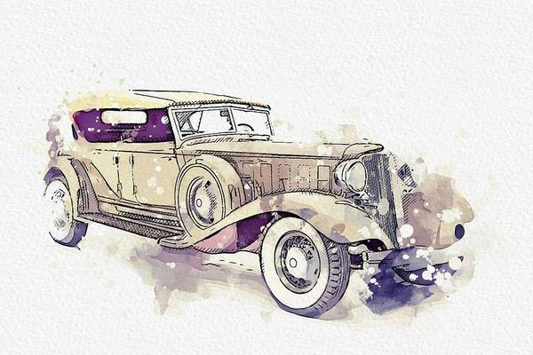 Painting - 1933 Chrysler Cl Imperial 2 Watercolor By Ahmet Asar by Ahmet Asar