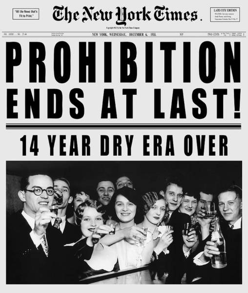 Wall Art - Digital Art - 1933 End Of Prohibition - New York Times - T-shirt by Daniel Hagerman