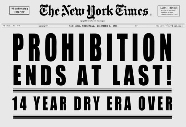 End Times Digital Art - 1933 Prohibition Ends Headline In New York Times - T-shirt by Daniel Hagerman