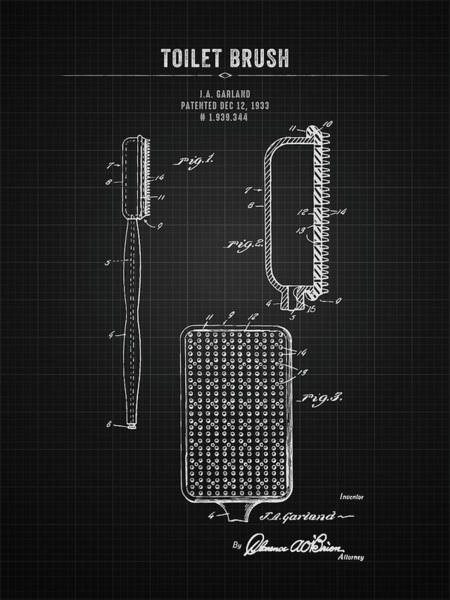 Wall Art - Digital Art - 1933 Toilet Brush - Black Blueprint by Aged Pixel
