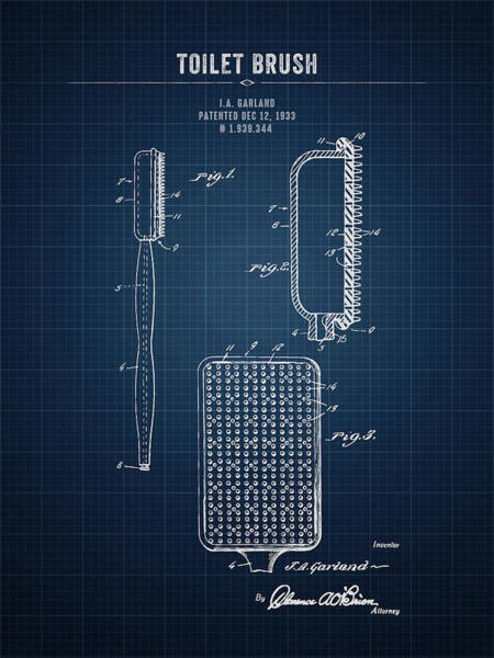 Wall Art - Digital Art - 1933 Toilet Brush - Dark Blue Blueprint by Aged Pixel